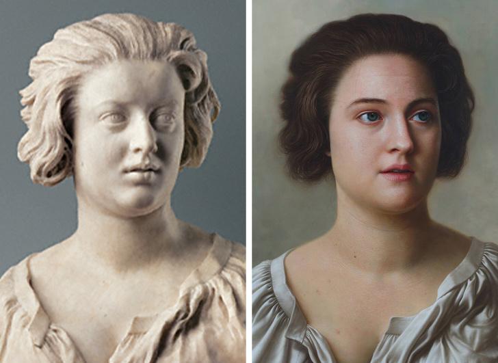 Художник показва как биха изглеждали хората в известни скулптури и картини в реалния живот